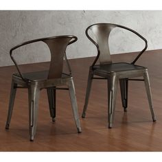 These stacking chairs feature a vintage-inspired yet industrial look and compact size. Fully assembled, this set of four chairs arrives in a bronze finish with scratch and mar resistance.