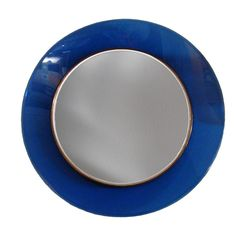 Round Mirror with Blue Frame by Max Ingrand for Fontana Arte | From a unique collection of antique and modern wall mirrors at http://www.1stdibs.com/furniture/mirrors/wall-mirrors/