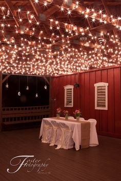 """West Virginia Country Barn Reception. Beautiful! Call """"Chairital Bliss"""" these linens and lights, and """"Foster Fotography"""" for the beautiful, artistic pictures!"""