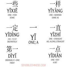 Yi :: Words from Common Chinese Characters Basic Chinese, How To Speak Chinese, Chinese English, Mandarin Lessons, Learn Mandarin, Chinese Phrases, Chinese Words, Chinese Symbols, Chinese Pinyin