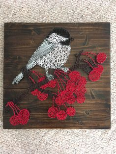 Bird string art. Chickadee on cherry branch.