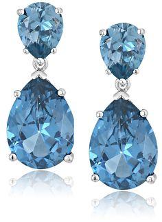 Amazon.com: CZ by Kenneth Jay Lane Cubic Zirconia Double Pear Drop Earrings: Jewelry