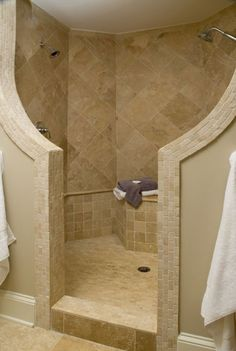 I want to do something similar to this in our master bath because I don't want to clean glass shower doors.