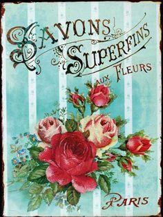 Found on: [ArtCap Posters & Post Cards] - Vintage Paris Roses printable Vintage Diy, Vintage Rosen, Floral Vintage, Images Vintage, Vintage Labels, Vintage Ephemera, Vintage Pictures, Vintage Cards, Vintage Flowers