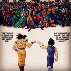 Dragon ball Z vs Marvel - Anime Marvel Avengers, Marvel Funny, Breaking Bad, Dbz, Hunger Games, Manga Anime, Joker Drawings, Dragon Ball Z Shirt, Goku Vs