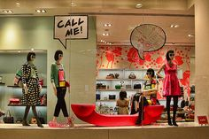 Graphic and pop-art inspired Kate Spade windows.  I'd exchange numbers. #Fashion #Retail #Window #Display