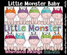Little Monster Baby Clip Art - Commercial Use, Digital Image, Png, Clipart - Instant Download - Costume Baby, Dress Up, Baby Hat, Nursery by ResellerClipArt on Etsy