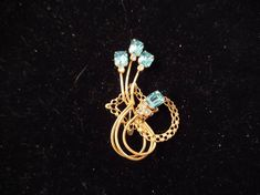 Tone Brooch with Brilliant Aqua Rhinestones, Can Be Worn as Pendant by MySimpleDistractions on Etsy