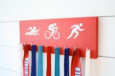 Triathlon Medal Holder / Display - Swim. Bike. Run. Olympicons / Stick Figures - Medium