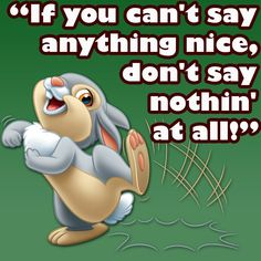 If you can't say anything nice then don't say anything at all.
