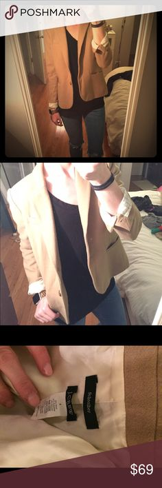 J.crew camel school boy blazer Sold out! Beautiful camel color school boy blazers it is from J.Crew factory but we quality is still suburban. The lining in the sleeves is striped so when you cuff it as extra interest and style. No flaws. No trades J. Crew Jackets & Coats Blazers