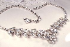 1920s Clear Rhinestone Bridal Leaf Necklace,Art Deco Bogoff Signed at AmoreTreasure on Etsy