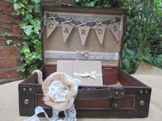 Wooden Suitcase Vintage Bunting Style Wedding Card Holder Post Box