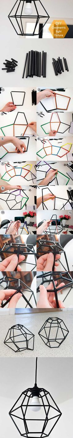 DIY geometric light fixture out of drinking straws!