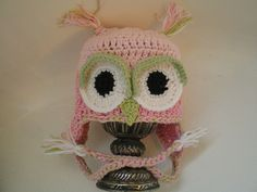 BABY GIRL OWL HAT PHOTO PROP, PINKS AND MINT GREEN