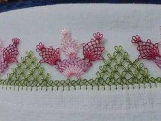 üçlü çiçek iğne oyası mutfak havlu kenarı