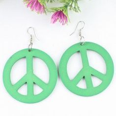 Boucles d'oreilles vertes en bois minimalistes