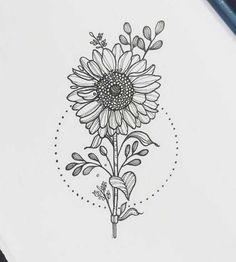 Secrets To Sunflower Drawing Simple Tattoo Ideas 91 - akkrabcom sunflower drawing - Drawing Tips Easy Flower Drawings, Pencil Art Drawings, Tattoo Drawings, Body Art Tattoos, Tatoos, Circle Tattoos, Owl Tattoos, Tattoo Ink, Arm Tattoo