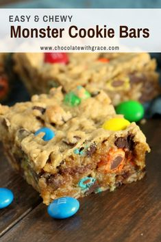 Monster Cookie bars are an easy recipe with oatmeal that makes the best baking recipe for kids. Soft and Chewy, everyone will love them for their chocolate peanut butter goodness, studded with M&Ms bars Monster Cookie Bars Dessert Dips, Köstliche Desserts, M&m Dessert Recipe, Egg Free Desserts, Picnic Desserts, Summer Desserts, Dessert Simple, Easy Dessert Bars, Cookies Et Biscuits