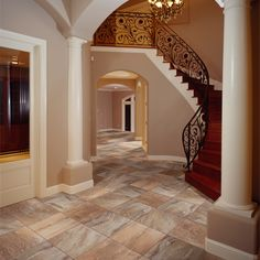 Tile Showroom NJ by Metropolitan Tile & Stone Tile Showroom, Entry Way Design, Stairway To Heaven, French Decor, Beautiful Interiors, Stairways, My Dream Home, Foyer, Future House