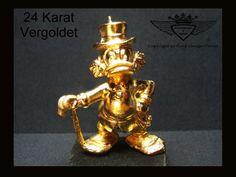 Dagobert Duck 24 Karat vergoldet.Gold, Gold Plating, 24 K, Vergoldet, Elektro Plating