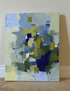 Resumen arte de la pintura azul y amarillo azul marino por pamelam
