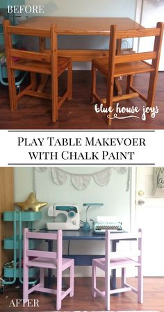 A quick and easy table makeover using Anne Sloan chalk paint. A great budget update perfect for playrooms, nurseries, and kid spaces.  Get more inspiration at bluehousejoys.com.