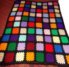 CHRISTMAS DAY SALE! Vintage Granny Squares BLACK Hand Made Afghan 50 X 62 Crochet Throw Blanket #Handmade