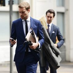 Style a blue suit with a slim dark tie with a light shirt. #thehardysuit…