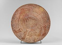 Dish with Lion, tin glazed earthenware. Spain, circa 1500