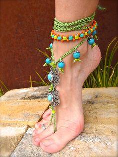 diy beaded bare foot sandals