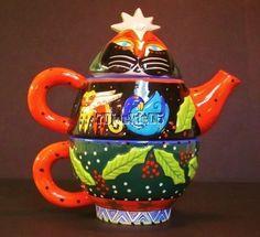 Laurel Burch Bella Casa Ganz 3 Piece Christmas Cat Teapot Lid Cup   eBay
