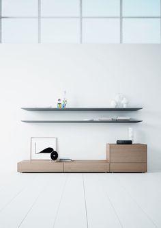 FREESTYLE, módulos del catálogo SYSTEMS de ARLEX que reúne propuestas modernas para salas de estar, comedores y bibliotecas. Acabados: roble y gris. Catálogo: SYSTEMS. Diseño: Josep Turell.