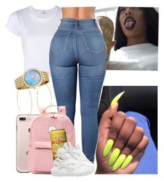 """"""""""" by melaninmonroee ❤ liked on Polyvore featuring RE/DONE, NIKE, Accessorize and Michael Kors"""