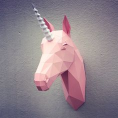 Papercraft unicorn head printable DIY template by WastePaperHead