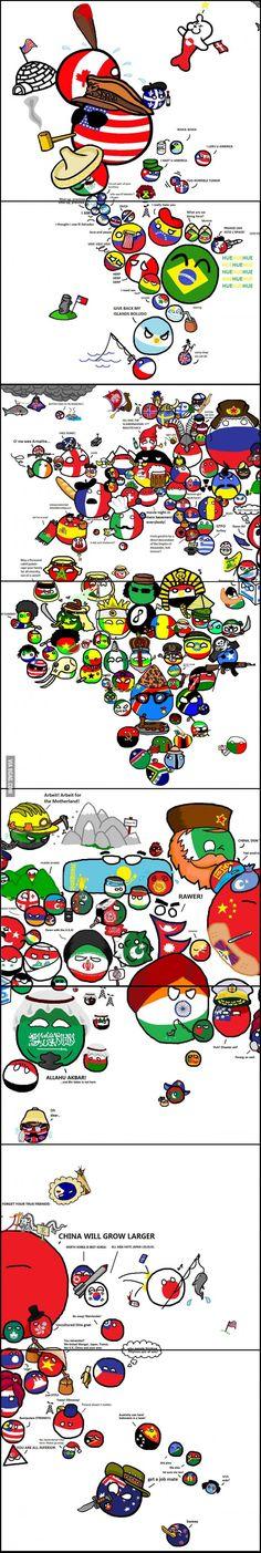 "Polandball World Map ""The World"" ( enlarged view ver. ) by xCITRUSx  #polandball #countryball #flagball"