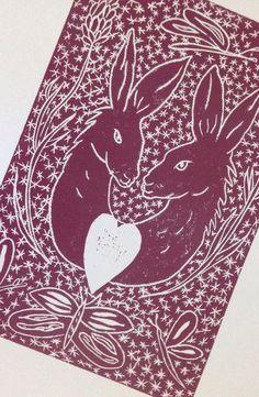 Hand printed linocut Hare 4 You original artwork by BetsyBadge, £15.00