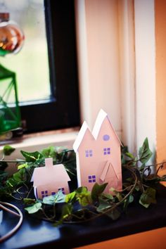 Paper houses Paper Houses, Place Cards, Place Card Holders, Holiday, Vacations, Holidays, Vacation