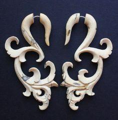 LAURELLE - Wood Fake Gauge Earrings - Natural Tamarind Wood - Hand Carved Tribal Gauges