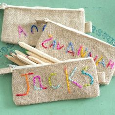 Embroidered Pencil Pouch