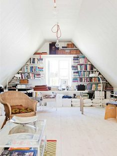 20 Creative Attic Library For Function Room 20 Creative Attic Library For Function Room Library Design, Home Office Design, Home Office Decor, House Design, Office Ideas, Office Decorations, Attic Library, Function Room, Home Libraries