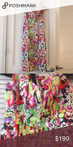Milly cold should graffiti dress Slimming midi sheath, exposed zipper, sateen fabric, cold shoulder. Amazing graffiti print that will wow. Fit for a larger chest. Only worn once. In perfect condition. Milly Dresses Midi