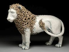 Standing Lion with Internal Woman, Adrian Arleo, ceramic