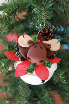 Polymer Clay Moose Ornament by Jennifer Jeffs   This listing is for one (1) hand sculpted polymer clay moose Christmas tree ornament.