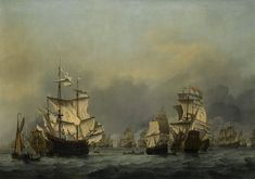 """The Surrender of the Royal Prince,"""" a 17th-century painting of an Anglo-Dutch sea battle by Willem van de Velde the Younger. The work sold for a top price of 5.3 million pounds at Sotheby's July 4 auction of Old Master paintings in London."""