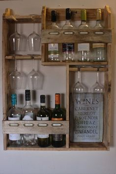 Wine rack, 8 bottles & 6 glasses #winerack
