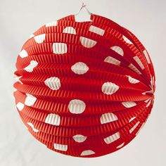 Spotted Red Paper Lantern Red Paper, White Cottage, 50th Birthday Party, Paper Lanterns, Red And White, Polka Dots, Holiday Decor, Christmas, Party Ideas