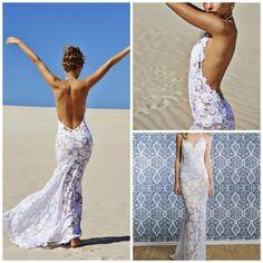 Sheath+Applique+Lace+Halter+Backless+Mermaid+Beach+Wedding+Bridal+Gown+Dresses+