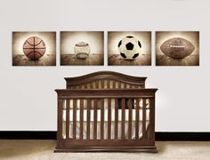 Vintage Football, Baseball, Soccer and Basektball, Set of Four Sports Balls on Barn Wood Photo Prints,Vintage Sports Nursery