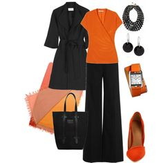 """orange wrap top"" by stantau on Polyvore"